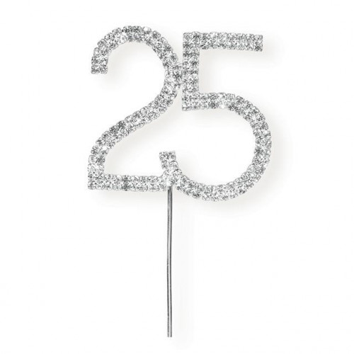 NEW STYLE DIAMANTÉ 25TH ON SILVER STEM 55 X 60MM