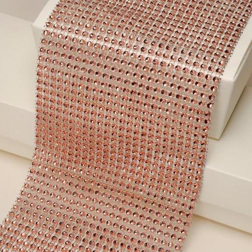 Diamanté Effect 24 Rows Band (9M) Rose Quartz