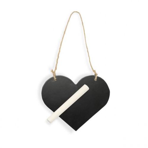 115X95MM WOODEN BLACKBOARD HEART WITH CHALK