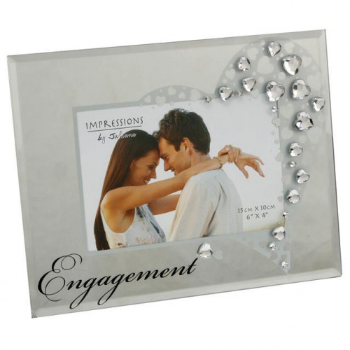 "IMPRESSIONS GLASS PHOTO FRAME WITH CRYSTALS ENGAGEMENT 6""X4"""