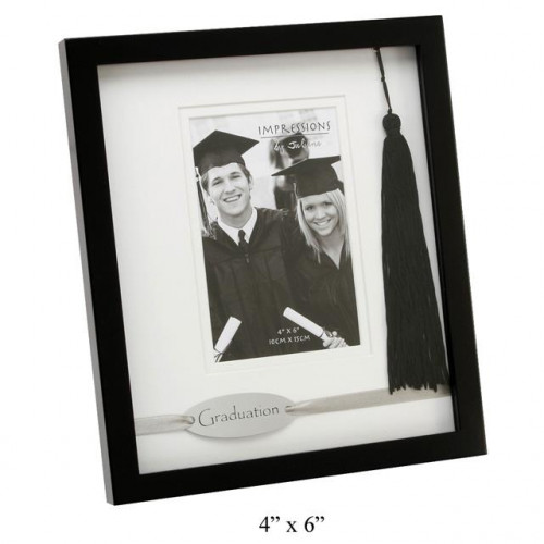 "GRADUATION BLACK FRAME WITH DOUBLE MOUNT 4"" X 6"""