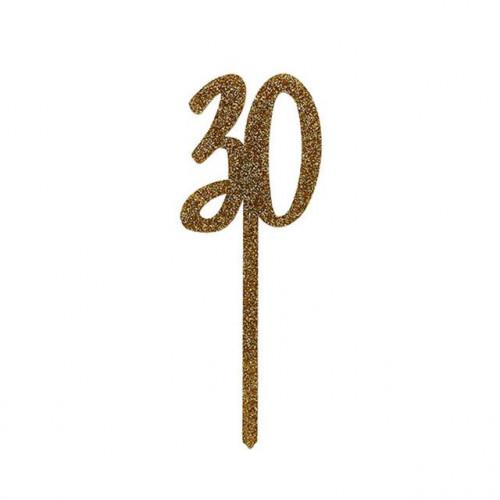 GOLD Acyrlic '30' Cake Topper (H)200x(W)75mm