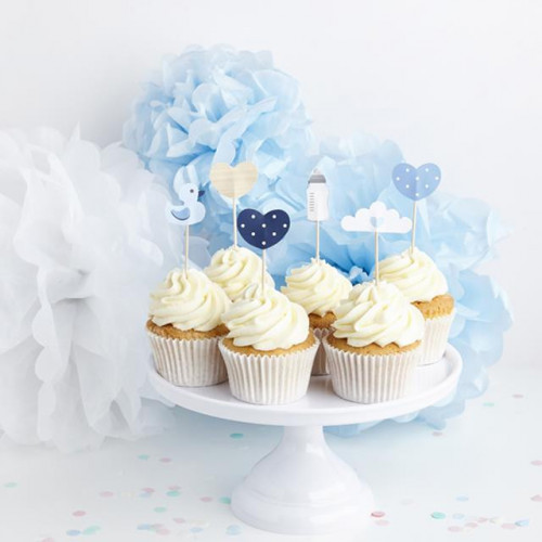 OH BABY ASSORTED BLUE CAKE PICKS. APPROX. 90H X 35.6 - 60MM.