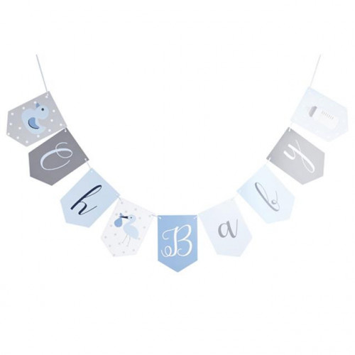 OH BABY BLUE BUNTING. 2M (9 FLAGS 153 X 222MM)