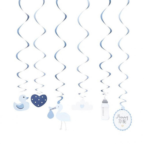 OH BABY BLUE SWIRL ASSORTED DECORATIONS