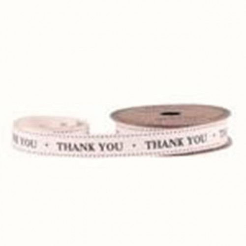 15Mm 'Thank You' Cotton Ribbon 5Yds
