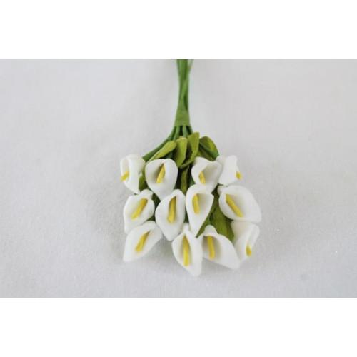 Minature Foam Calla Lily Bunch White/Yellow