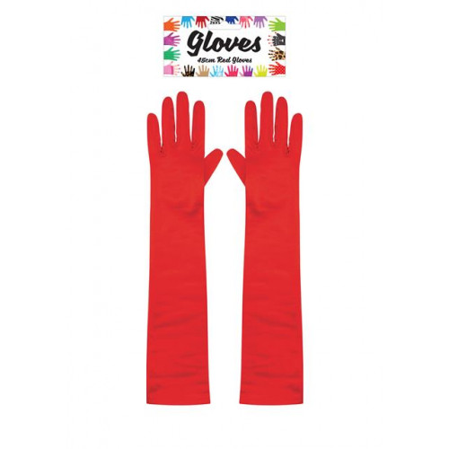 GLOVES LONG 45CM RED ADULT