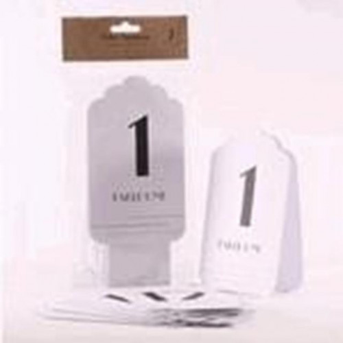 White With Silver Glitter Table Numbers 1-12