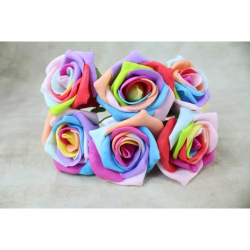 5.5Cm Foam Rose Bunches Mixed Colours