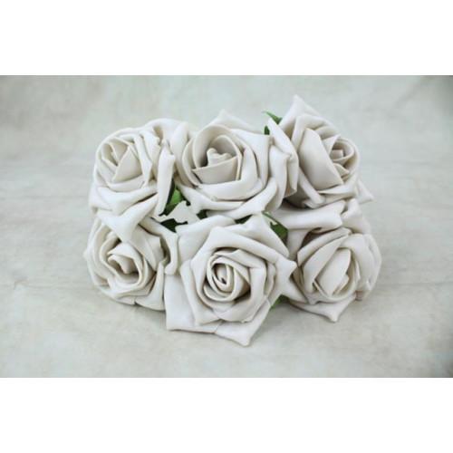 5.5Cm Foam Rose Bunches Beige