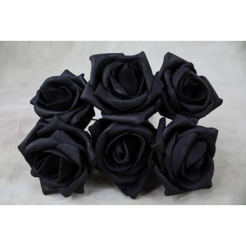 5.5Cm Foam Rose Bunches Black/Black