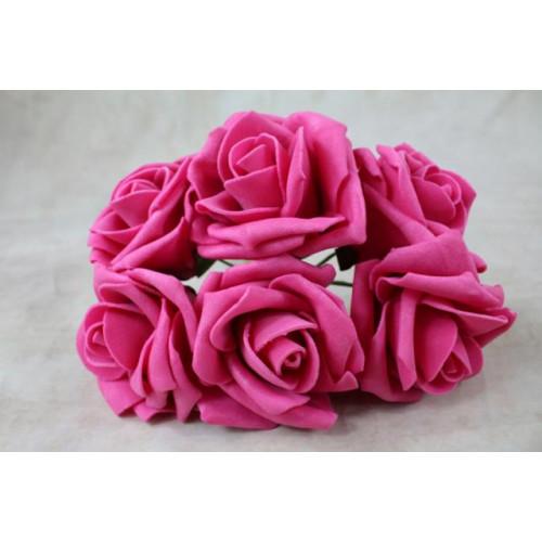 5.5Cm Foam Rose Bunches Raspberry