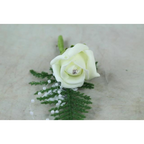 Foam Rose Corsages With Rhinestone Pearls Ivory