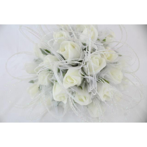 Foam Rose Buds With Tulle Wrap Ivory