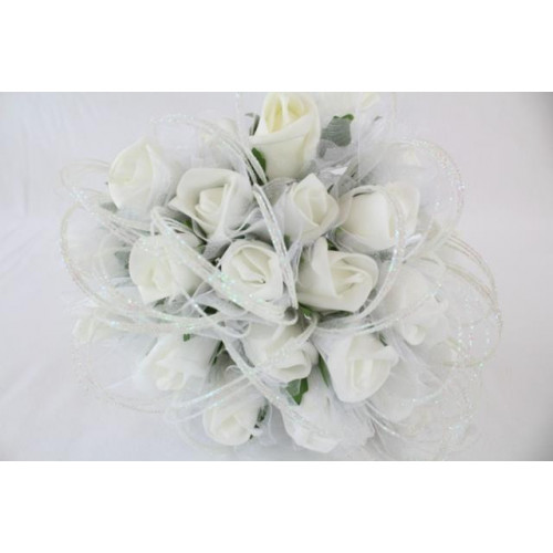 Foam Rose Buds With Tulle Wrap White
