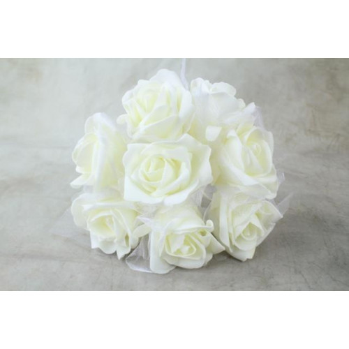 Large Colourfast Foam Roses With Tulle Wrap Ivory