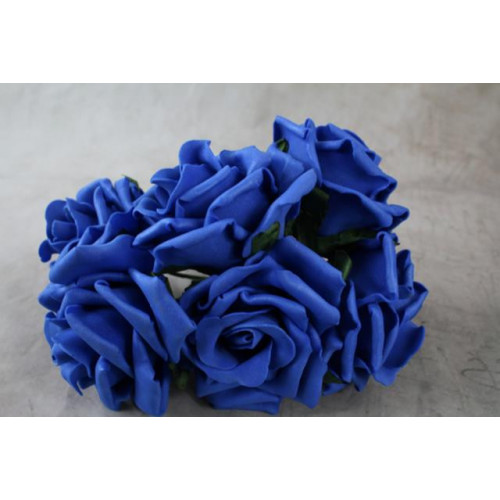 9Cm Colourfast Curly Foam Roses Royal Blue