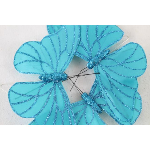 12.5Cm Tiffany Blue Satin Butterfly With Wire Stem