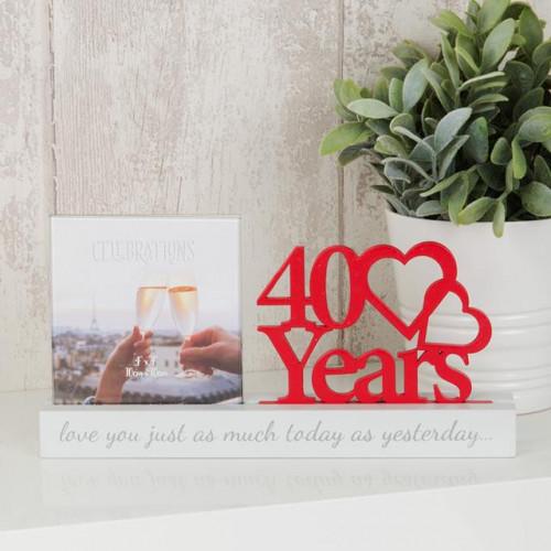 "Love Wedding Photo Frame - 4"" x 4"" - 40 Years"