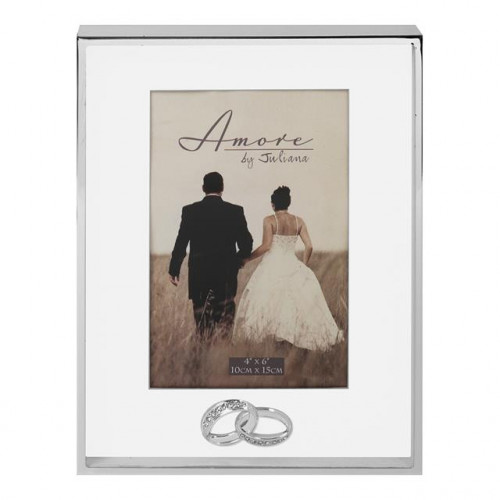 "AMORE THIN SILVERPLATED BORDER BOX FRAME WITH RINGS 4"" X 6"""