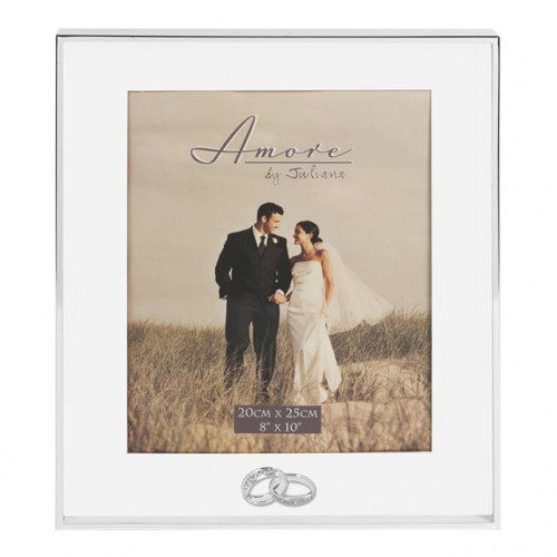 "AMORE THIN SILVERPLATED BORDER BOX FRAME WITH RINGS 8"" X 10"""