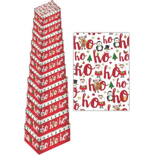 10pc Oblong Box Hohoho