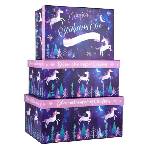3 NESTED CHRISTMAS EVE BELIEVE IN XMAS BOXES