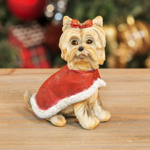 HAND PAINTED RESIN YORKSHIRE TERRIER FIGURINE WITH COAT