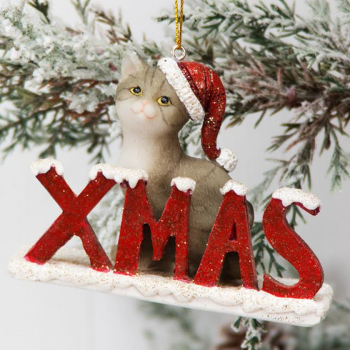 HAND PAINTED RESIN KITTEN TREE ORNAMENT - XMAS