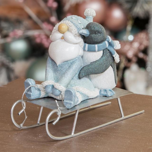 HAND PAINTED RESIN SANTA & PENGUIN FIGURINE