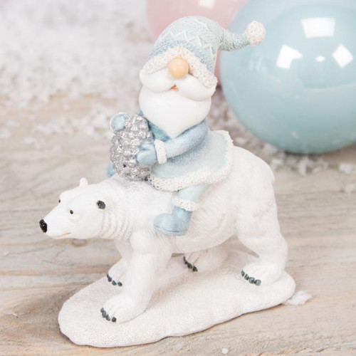 HAND PAINTED RESIN SANTA & POLAR BEAR FIGURINE