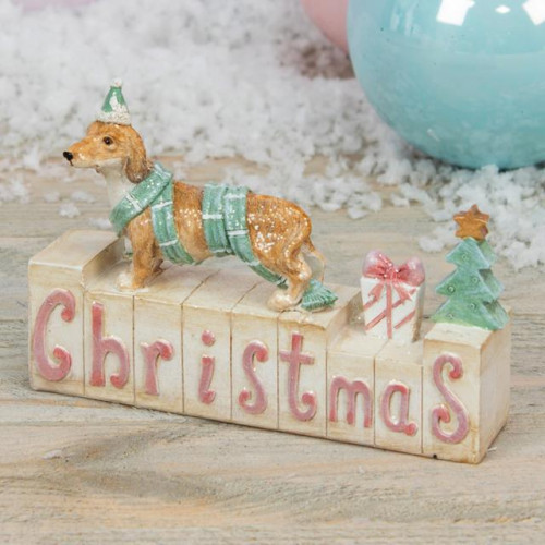 RESIN DOG MANTEL BLOCK - CHRISTMAS