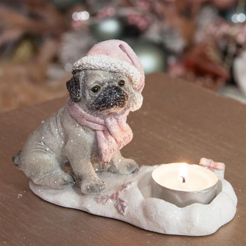 HAND PAINTED RESIN PUG TEALIGHT HOLDER