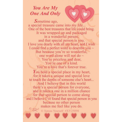 W/CARD YOU ARE MY ONE ,NETT
