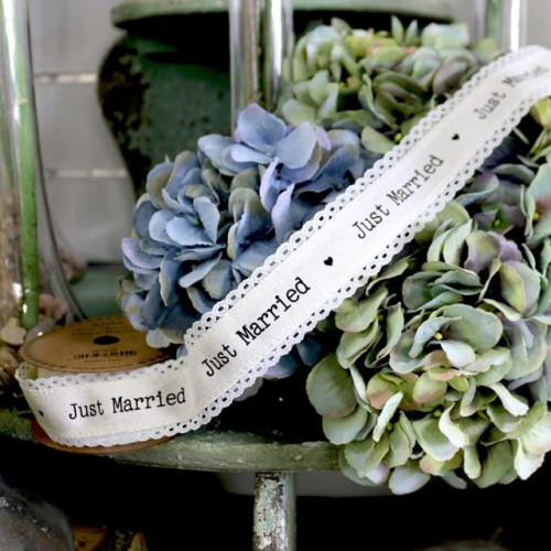 40Mm Just Married Linen Ribbon