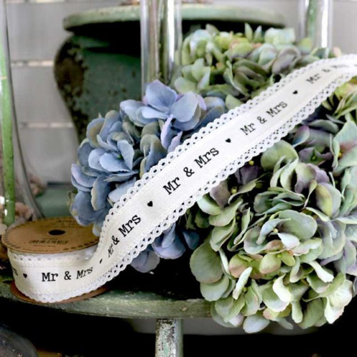 40Mm Mr & Mrs Linen Ribbon