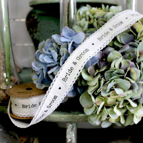 40Mm Bride & Groom Linen Ribbon