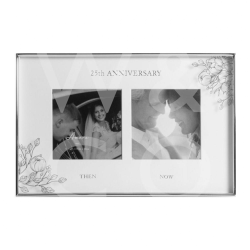 Silver Foil Floral Double 25th Anniversary Photo Frame