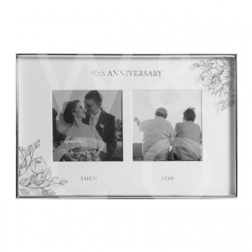 Silver Foil Floral Double 40th Anniversary Photo Frame
